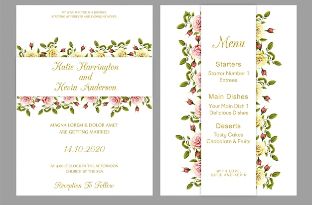 Convite de casamento moderno com cartão de menu