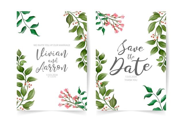 Convite de casamento moderno com elementos florais em aquarela
