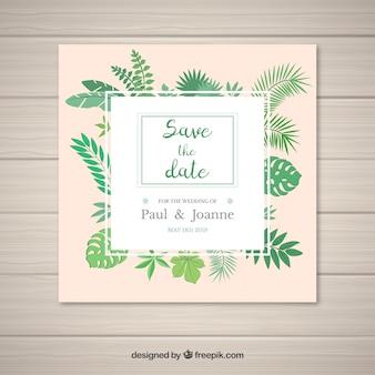 Convite de casamento moderno com estilo tropical