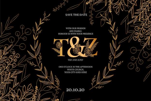 Convite de casamento moderno com flores douradas
