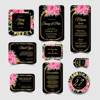 Convite de casamento moderno conjunto de aquarela floral rosa e moldura de ouro