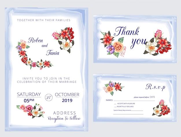 Convite de casamento moderno, convite, obrigado, rsvp