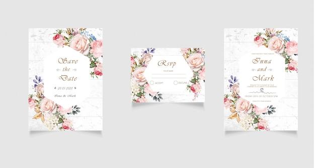 Convite de casamento moderno, rsvp e cartão de agradecimento