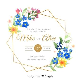 Convite de casamento moldura aquarela