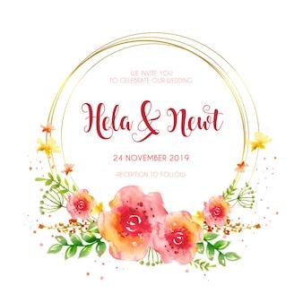 Convite de casamento moldura dourada