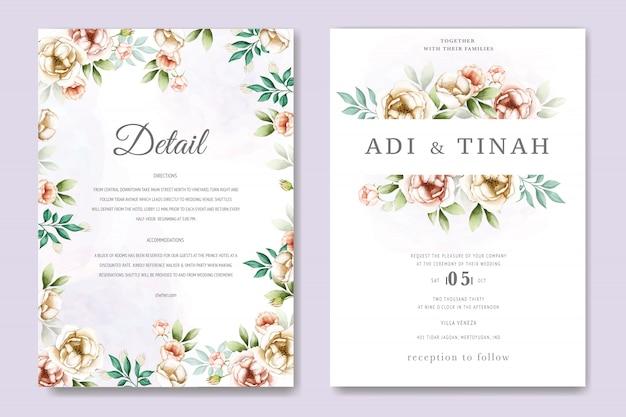 Convite de casamento moldura floral aquarela