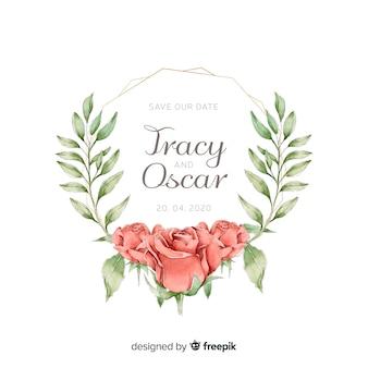 Convite de casamento moldura floral com rosas em estilo aquarela
