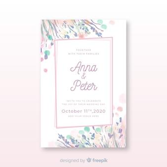 Convite de casamento moldura floral desenhados à mão