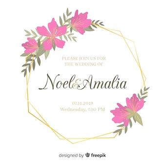 Convite de casamento moldura floral plana