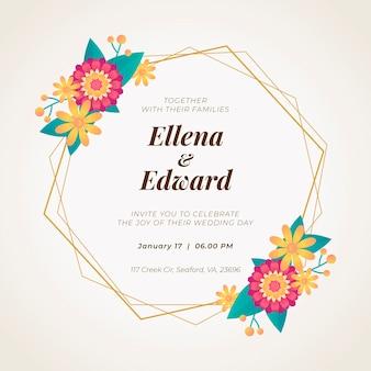 Convite de casamento moldura floral