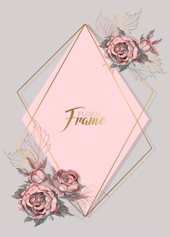 Convite de casamento moldura geométrica com flores em aquarela