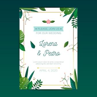 Convite de casamento multicolorido desenhado à mão
