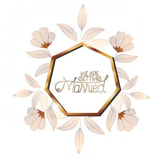 Convite de casamento no quadro dourado com flores