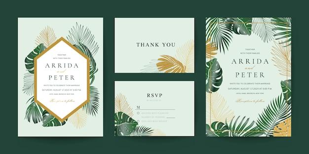 Convite de casamento, obrigado e modelo de cartão de rsvp