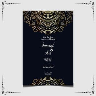 Convite de casamento ornamentado de mandala de ouro de luxo.