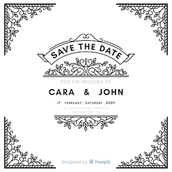 Convite de casamento ornamental branco