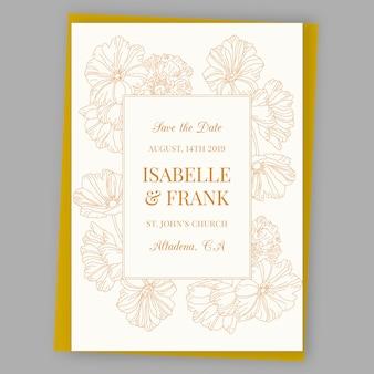 Convite de casamento ornamental com flores douradas
