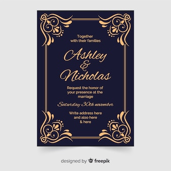 Convite de casamento ornamental em estilo retro
