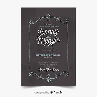 Convite de casamento ornamental vintage