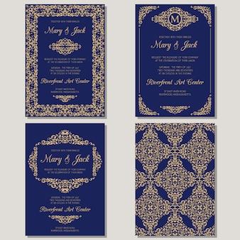 Convite de casamento ou cartão com ornamento vintage. ilustração.