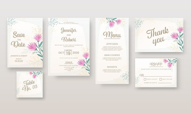 Convite de casamento ou layout de modelo como salvar a data, local, menu, mesa, não, obrigado e cartão de rsvp.