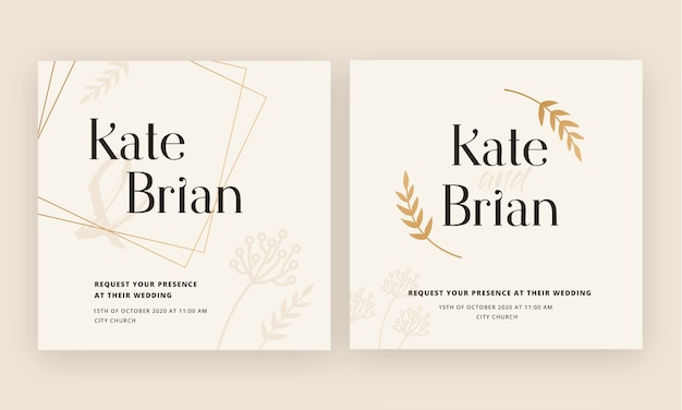 Convite de casamento ouro cartão de luxo totalmente editável
