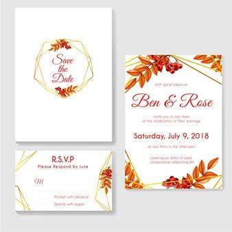 Convite de casamento outono ouro com bagas e folhas