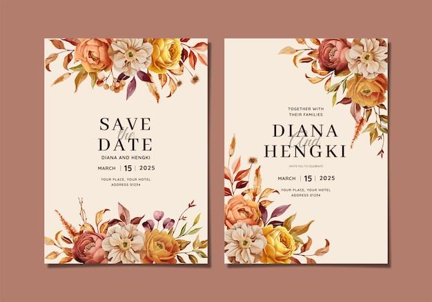 Convite de casamento pintado à mão com flores quentes de outono