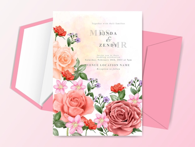 Convite de casamento pintado à mão