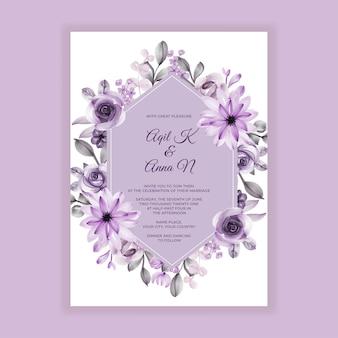 Convite de casamento pintura aquarela flor roxa