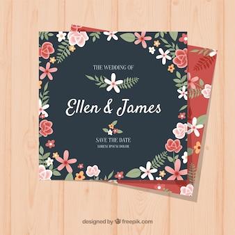 Convite de casamento plano com um quadro floral