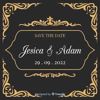Convite de casamento preto com ornamentos de ouro