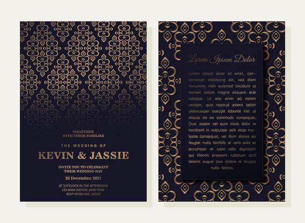 Convite de casamento preto escuro com padrão