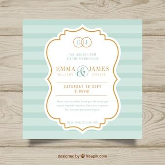 Convite de casamento quadrado agradável em design plano