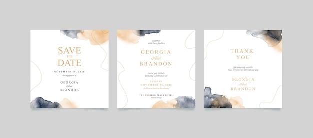 Convite de casamento quadrado simples e minimalista