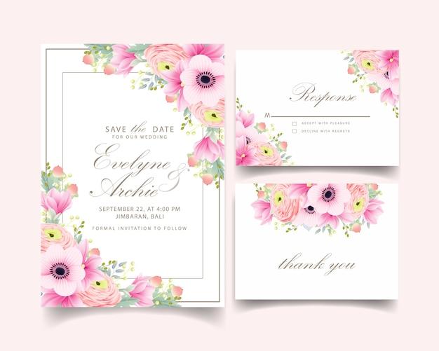 Convite de casamento ranúnculo magnólia anêmona flores