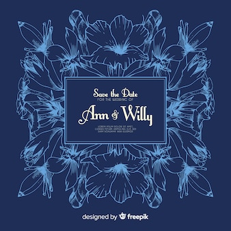 Convite de casamento realista mão desenhada flores em azul