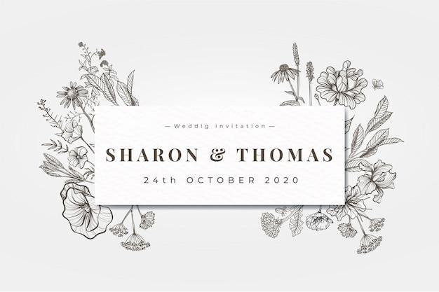 Convite de casamento realista mão desenhada flores