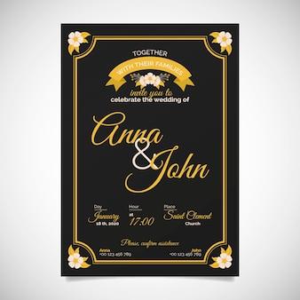 Convite de casamento retrô com detalhes dourados