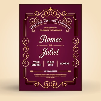 Convite de casamento retrô modelo