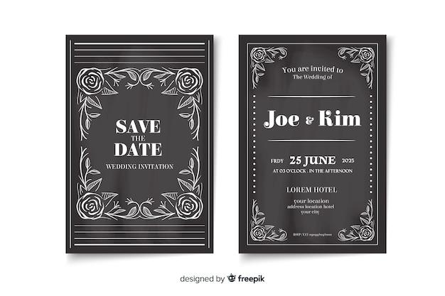 Convite de casamento retrô no quadro-negro