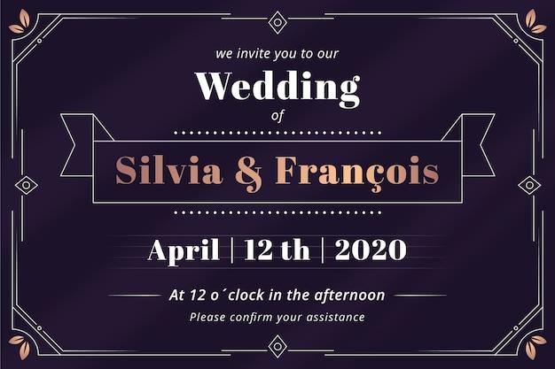 Convite de casamento retrô