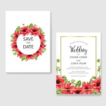 Convite de casamento romântico com aquarela vermelha dália
