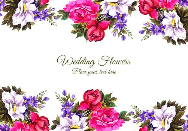 Convite de casamento romântico com cartão de flores coloridas