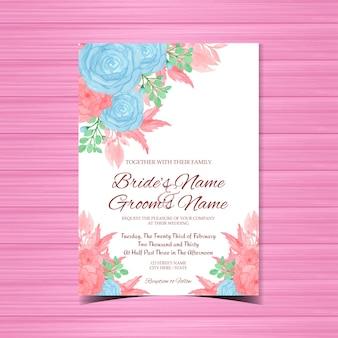 Convite de casamento romântico com flores azuis e rosa