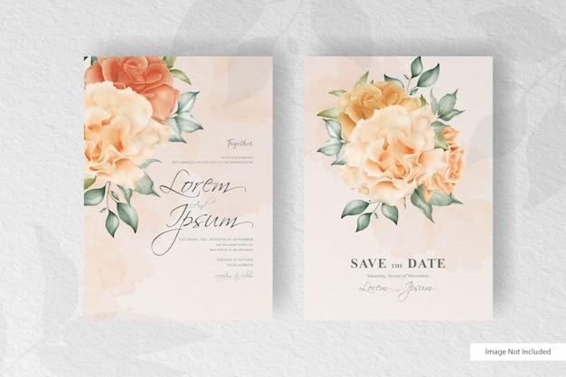 Convite de casamento romântico com flores e folhas realistas Vetor Premium