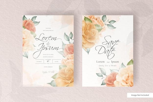 Convite de casamento romântico com flores e folhas realistas