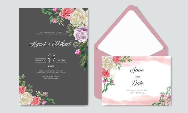Convite de casamento romântico com lindas flores com envelope
