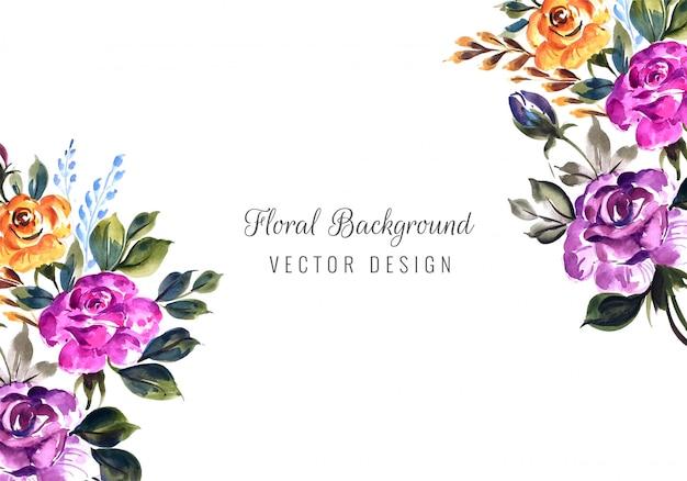Convite de casamento romântico com modelo de cartão de flores coloridas