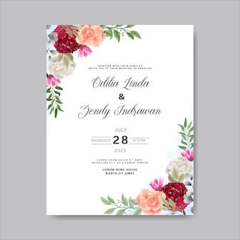 Convite de casamento romântico com temas de lindas flores